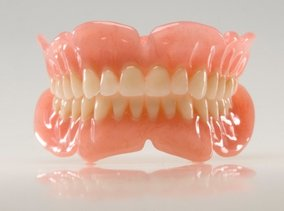 a full set of completely removable dentures